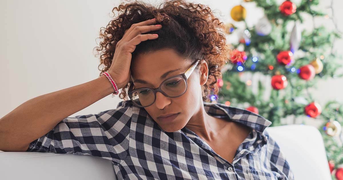Stressed woman during holiday celebrations